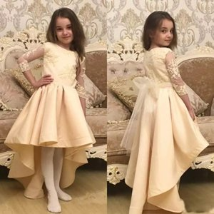 2018 cheap plus size hi lo long sleeves flower girl dresses