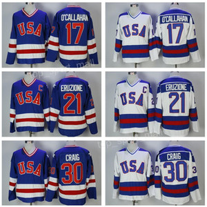 1980 USA Hockey Jersey Team 30 Jim Craig Maglie 21 Mike Eruzione 17 Jack O'Callahan Callahan Blu Bianco Anno Miracle On Olympics Stitched