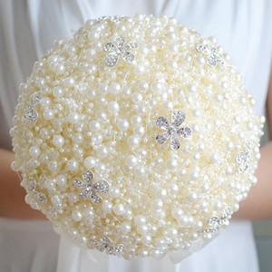 2018 Lüks İnciler Düğün Gelin Buket Gelin Tutan Çiçekler Düğün Çiçekler Broş Benzersiz Tasarım Boncuk Düğün Buket Renkli