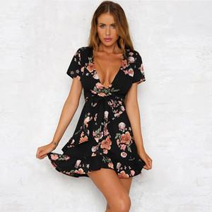 2018 moda de verano bohemio sexy con cuello en V profundo vestido estampado de flores Casual manga corta irregular volantes cinturón vestidos de playa