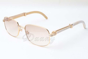 2018 Bestseller Cuts Branca Natural chifre espelho óculos de lente, 7.381.148 High End Luxo Praça Sunglasses Dimensões: 56-21-135mm