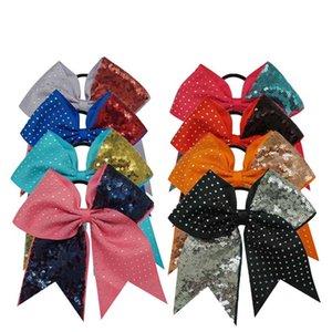 10pcs / Solid Блестки Rhinestone Boutique Grosgrain лента Cheer лук с упругим волосом Bands для Черлидинг девушка Аксессуары для волос