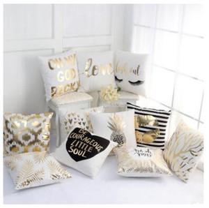 Ouro Stamping Folhas carta de amor impresso fronha fronha Sofa Pillow Sham TYP 002