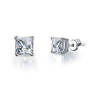 Parlak 2Ct / Adet Gümüş Küpe Damızlık Prenses Sentetik Diamonds Damızlık Küpe Nişan Beyaz Altın Renk Takı