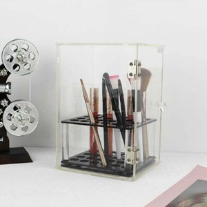 Crystal Makeup Brush Box Acrilico Makeup Organizer Strumento di stoccaggio cosmetico Flashing Pencil Holder Rossetto Organizer Holder Case
