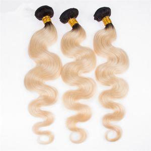 Two Tone 1b 613 Blonde Body Wave 번들 Ombre Blonde Dark Root 버진 말레이시아 헤어 익스텐션 3 Bundles Deals