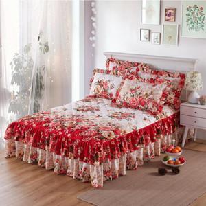 Colcha acolchoada graciosa espessada atado lençol encapuçado de duas camadas de cama capa de casamento Housewarming presente cama camisa (sem fronha)