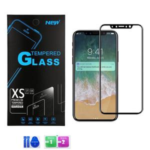 Couverture complète en verre trempé pour iPhone iphone XS MAX X 8 7 plus 6 5 Soft Edge pas cher Premium 3D protecteurs d'écran Film avec boîte de papier