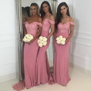 Dusty Pink Mermaid Bridesmaids Dresses 2018 Paese Off spalla maniche maniche in rilievo in pizzo Backless Sweep treno arabo Wedding Guest Gowns