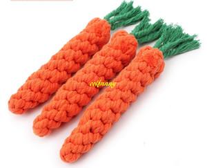 100 unids / lote 24 cm Longth Dog Dog Chew Toys Clean Nudo de los dientes para el pequeño perro cachorro trenzado algodón cuerda zanahoria juguete para la diversión