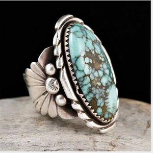 خاتم TURQUOISE ، مجوهرات أثرية أوروبية وأمريكية إبداعية ، مجوهرات عامة وأخرى للرجال والنساء