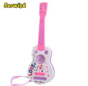 Surwish Simulation 4 String Flash Mini chitarra bambini strumenti musicali giocattolo educativo 928B - rosa