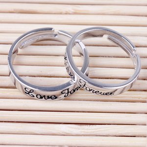 Free shipping 925 stamped silver ring jewelry noble simple couple light love forever letter ring