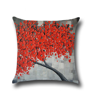Classical Style Flax Cushion Cover Pillow Case Home sofa Throw pillowcase Cotton cushion pillow cover Oil Painting Christmas Decoration