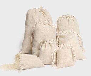 Schmuck leinen kordelzug beutel 8x10cm 9x12cm 10x15cm 13x17cm 15x20cm 20x30cm partei süßigkeiten zugunsten sack baumwolle geschenk verpackung tasche sack