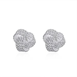 New Arrival 925 sterling silver Spherical simple woven Stud Earrings fashion Jewelry for women gifts Factory direct free shipping LKNSPCE013