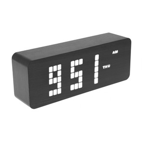 Wooden LED Digital Alarm Clock USB Automatic Brightness Voice Control Func Digital Modern Desk Clocks