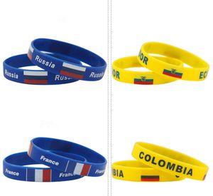 Braccialetti di silicone Paese Russia World Cup 47 Paese con bandiere nazionali Sport Wristband Football Fans Braccialetto in silicone Souvenir Regalo nave libera