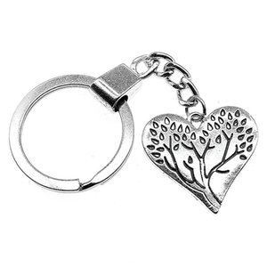 6 Pieces Key Chain Women Key Rings Couple Keychain For Keys Heart Tree Of Life 28x26mm