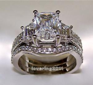 Choucong Princesa corte 5ct Diamante 10KT White Gold Filled 3-em-1 Anel de Noivado Casamento Definir Tamanho 5-11 Presente