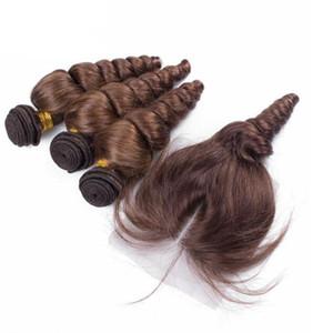Trama brasileña del pelo de la onda floja con el cierre con el pelo del bebé Marrón suelta los paquetes del pelo humano de la onda suelta con el encierro del cordón 4Pcs / Lot