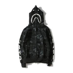 Nova Chegada Tubarão Impresso Camo Preto Hoodies Das Mulheres Dos Homens Cardigan Hop Hip Hoodies Esporte Streetwear Camisolas Tamanhos M-XXL