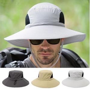 Seau d'été Chapeau de pêche Chapeaux Casquettes Brim large Respirant Protection solaire Boonie Hat pour camping en plein air BBYES