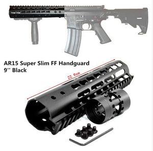 9 polegada Free Float NSR KeyMod Handguard Suporte de Montagem com Trilho Destacável Barril PRETO Porca Para AR-15 M4 M16