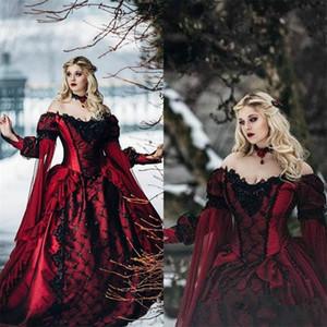 Новая готическая спящая красота принцесса средневековый бордовый и черный свадебный платье с длинным рукавом кружевные аппликации викторианские маскарады свадебные платья