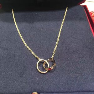 حلقة مزدوجة قلادة الحب قلادة الأزياء قلادة خاتم مزدوج