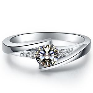 Звезда мерцание 0.5 ct синтетический алмаз кольца 925 стерлингового серебра ювелирные изделия покрытием 18 K белое золото полу крепление кольцо для невесты настройки бесконечности