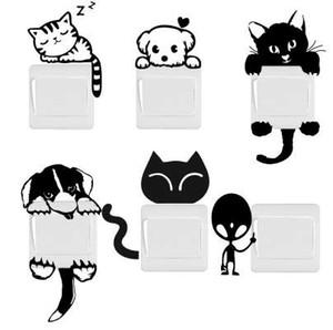 DIY 재미 귀여운 고양이 개 스위치 스티커 벽 스티커 홈 인테리어 침실 거실 응접 뜨거운