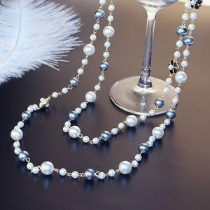 Agood yüksek kalite uzun kazak zinciri çift katmanlar İmitasyon İnci kolye kadınlar için parti düğün takı aksesuarları