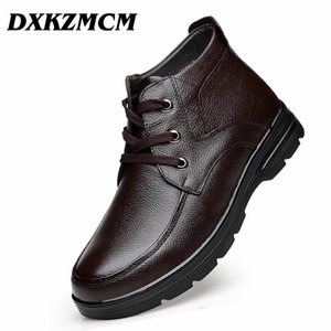 DXKZMCM Main Hommes Véritable Cuir Plus velours Bottes D'hiver Neige Chaude Neige Hommes Bottes Cheville Pour