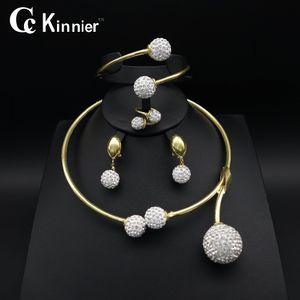 tout bijoux de mariage en or couleur saleDubai boucles d'oreilles de design de mode surdimensionnée femmes collier de perles de mariée africains fixe Bague Bangle