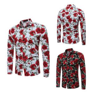 2018 новые мужские рубашки с длинным рукавом цветочные печатных большой размер Slim Fit рубашки Роза Pattern повседневная однобортный рубашка для весны и осени