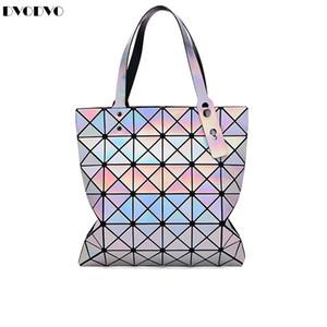 Bao Bao bolsos de la moda láser Geometría diamante Forma de PVC bolsa holográfica del remiendo de las mujeres bolso de mano baobao 6 * 7