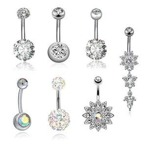 7PCS / lote Umbilical Nails umbigo unhas definir Body Piercing Aço Inoxidável Cristal umbigo anéis para mulheres Pierced Jewelr Kit atacado
