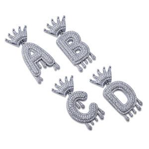 Hip Hop Buzlu Out A-Z Hiçbir Özel Ad Taç Damla Mektubu Kolye Kolye Zinciri Altın Gümüş Renk Kübik Zirkon Takı