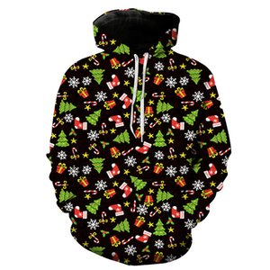 De noël 3d imprimer hoodies arbre cadeau drôle hoodies hommes streetwear casual harajuku pulls hip hop capuche Pullover tops couple vêtements