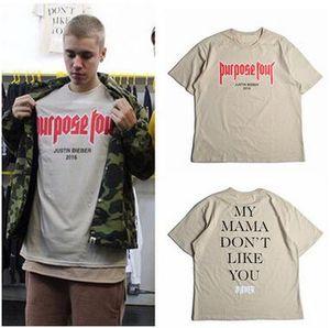 Maglietta Justin Bieber MY MAMA NON MI PIACE Maglietta a maniche corte Tshirt in cotone con tinta unita