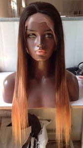 실크 스트레이트 전체 레이스 블랙 여성을위한 인간의 머리 가발 브라질 머리 세 톤 # 1b 4 27 ombre 색상 레이스 프런트가 발