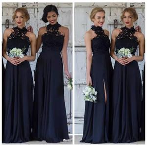 2021 레이스 네이비 블루 민소매 롱 신부 들러리 드레스 레이스 탑 A 선 시폰 사이드 스플릿 하녀의 명예 가운 저렴한 웨딩 게스트웨어