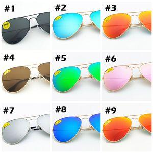 Alta calidad Classic Pilot Sunglasses Designer Brand para mujer para mujer Gafas de sol Gafas Oro Metal Verde 58mm 62mm Lentes de vidrio negro Caso