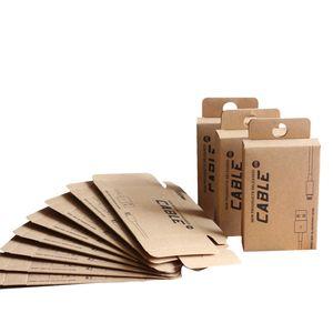 100 pcs En Gros Custom Package Box pour 1.5M Câble USB pour iPhone Samsung Retail Kraft Emballage Emballage En Papier