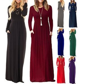 New Plus size Donna manica lunga Caual Tinta unita O-Collo Maxi tasche Abito lungo allentato Beach Party Tunic Dress