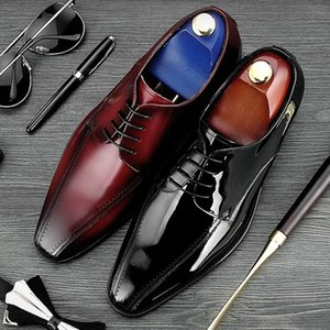 2018 Elegant Round Toe Derby Man Formal Dress Wedding Shoes High Quality Genuine Leather Lace up Men's Office Prom Footwear