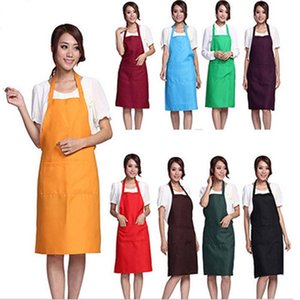 Solid Color Apron Kitchen Clean Accessory For Multi Function Household Adult Cooking Baking Aprons free shipping
