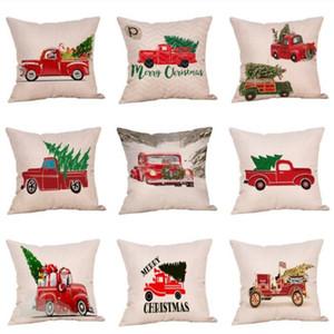 Frohe Weihnachten Jubilation Kissenbezug Baum Auto Muster Digitaldruck Kissenbezug Cartoon Ornament Home Decor Pillowslip