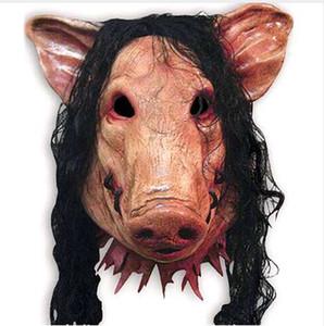 1 UNID Máscaras de miedo Con Pelo Máscara de Halloween Novedad Máscara de Halloween Vio la Cabeza de Cerdo Scary Cosplay Disfraz Latex Suministros de vacaciones